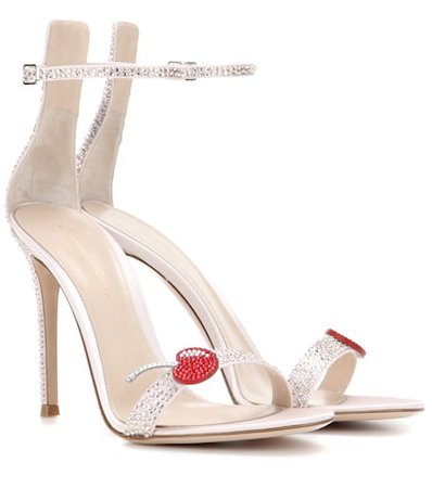 Cherry Portofino embellished satin sandals