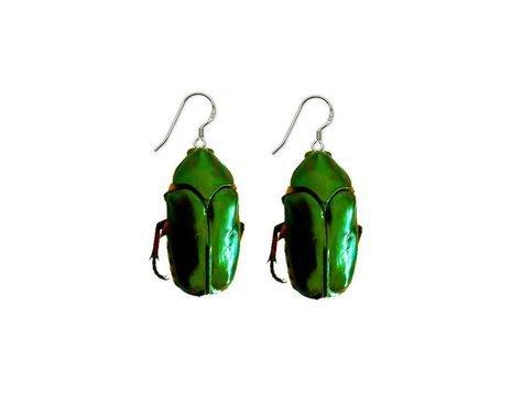 green beetle earrings
