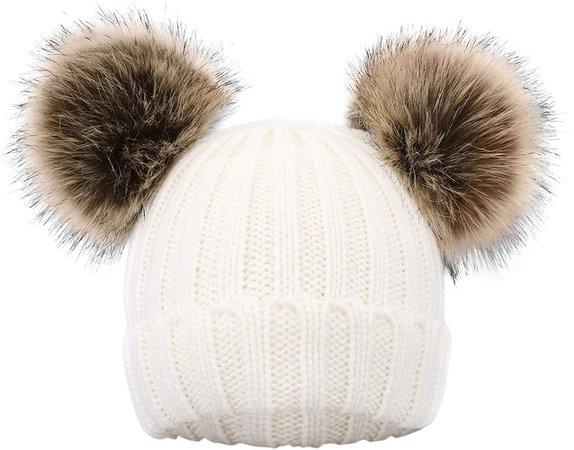 Amazon.com: Simplicity Kids Pom Pom Hat Fleece Girls Winter Beanie Hat Kids Beanie Hat, Pink: Clothing