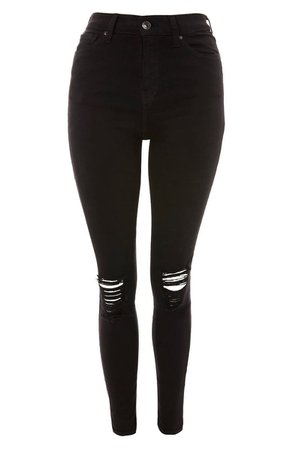 Topshop Jamie High Waist Ripped Black Jeans (Regular & Petite) | Nordstrom