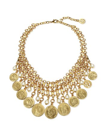 Ben-Amun Coin & Pearly Bib Necklace | Neiman Marcus