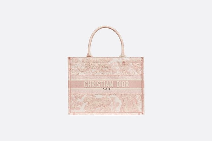 Dior Book Tote bag in pink Toile de Jouy embroidered canvas