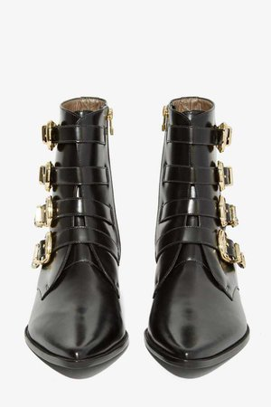 Kate Bosworth x Matisse | Catherine Banging Black Leather Pointed Toe Boots with Gold Buckles
