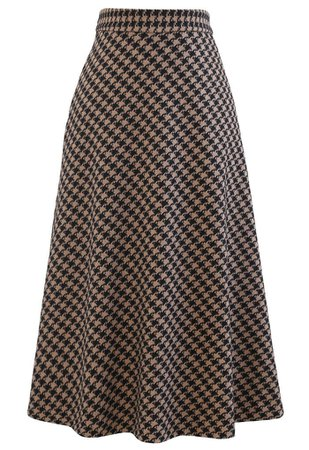 Houndstooth Flare A-Line Midi Skirt in Brown - Retro, Indie and Unique Fashion
