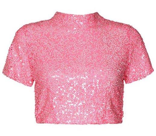 Pink sequin crop top