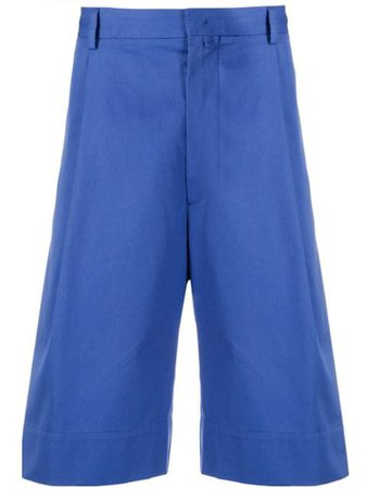 Maison Flaneur Pleated Bermuda Shorts 20SMUPA120TC127 Blue | Farfetch