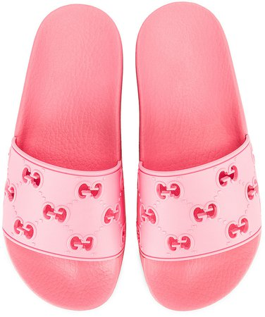 Bee Rubber Slides in Pink | FWRD