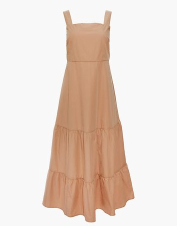 Button-Back Tiered Sundress brown
