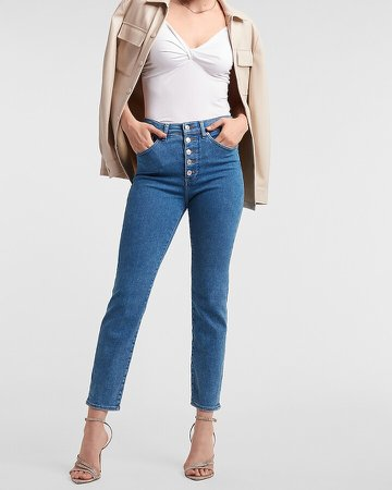 High Waisted Button Fly Slim Jeans