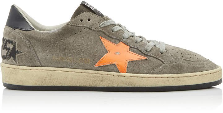Ball Star Distressed Suede And Rubber Sneakers