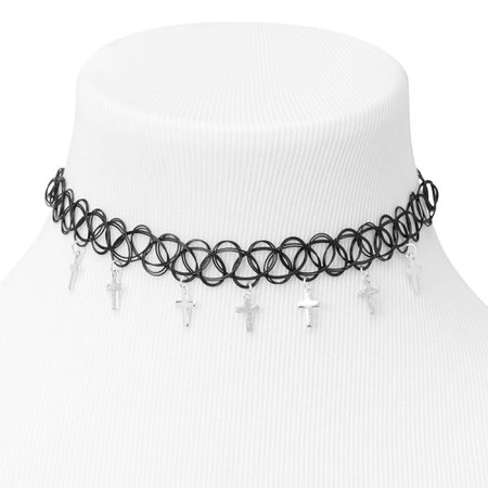 Cross Tattoo Choker Necklace - Black | Claire's US