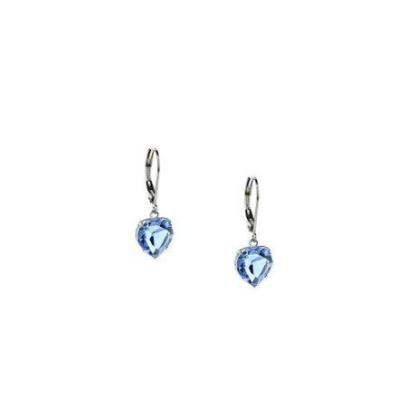 Silver Tone Lt Sapphire Blue Swarvoski Crystal Heart Drop Earrings