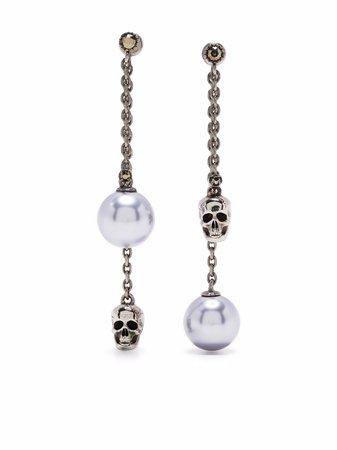 Alexander McQueen pearl skull drop earrings - FARFETCH
