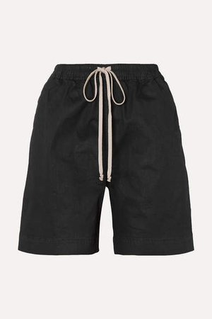 Coated-denim Shorts - Black