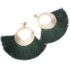 green earrings boho tassel fan - Google Search