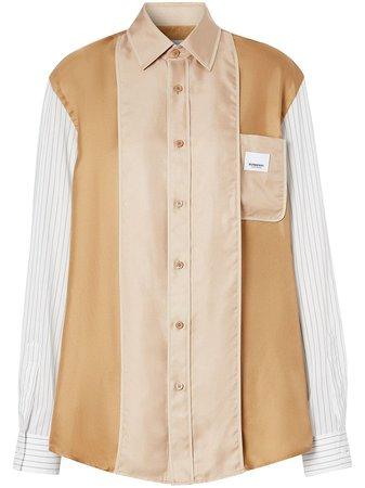 Burberry Logo Appliqué Pinstriped Panelled Shirt - Farfetch