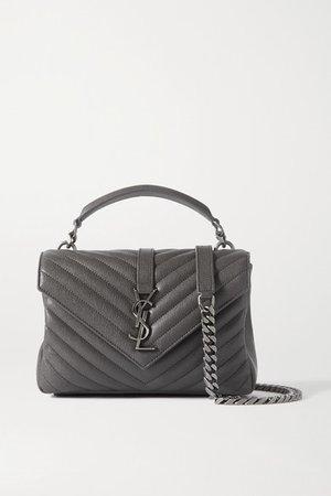 College Medium Quilted Leather Shoulder Bag - Dark gray