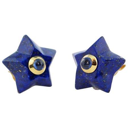 AVGVSTA 18 Karat Yellow Gold Lapis Lazuli and Sapphire Star Stud Earrings
