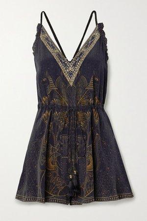 Embellished Silk Crepe De Chine Playsuit - Black