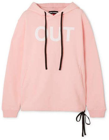 Double Rainbouu - Printed Cotton-fleece Hoodie - Pastel pink