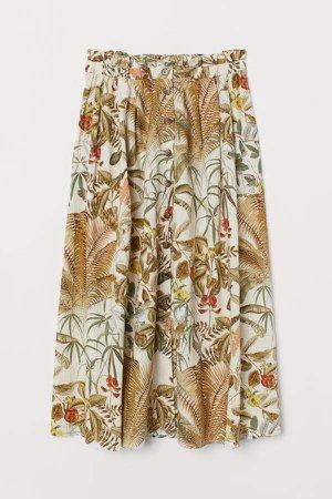 Linen-blend Skirt - Green