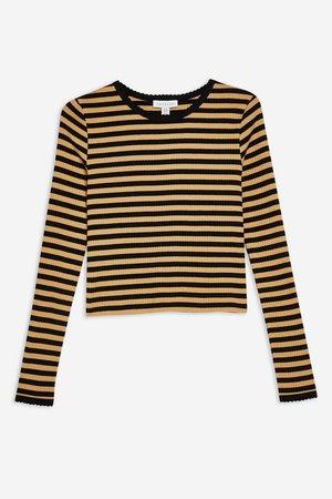 Long Sleeve Stripe Scallop T-Shirt - T-Shirts - Clothing - Topshop