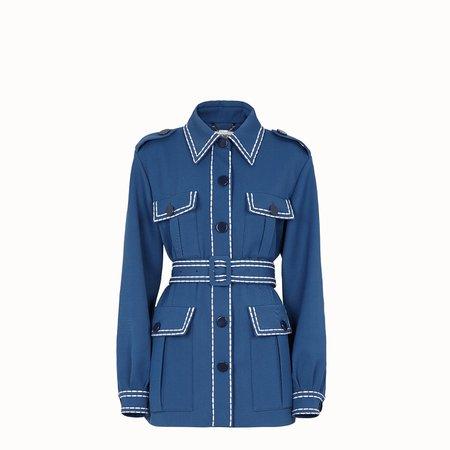 Safari jacket in blue gabardine - JACKET   Fendi