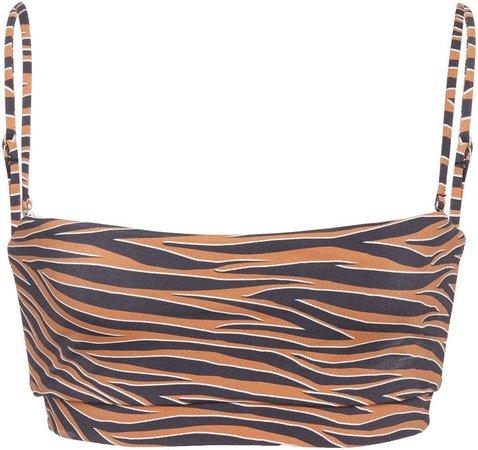 Tiger-Print Bandeau Bikini Top