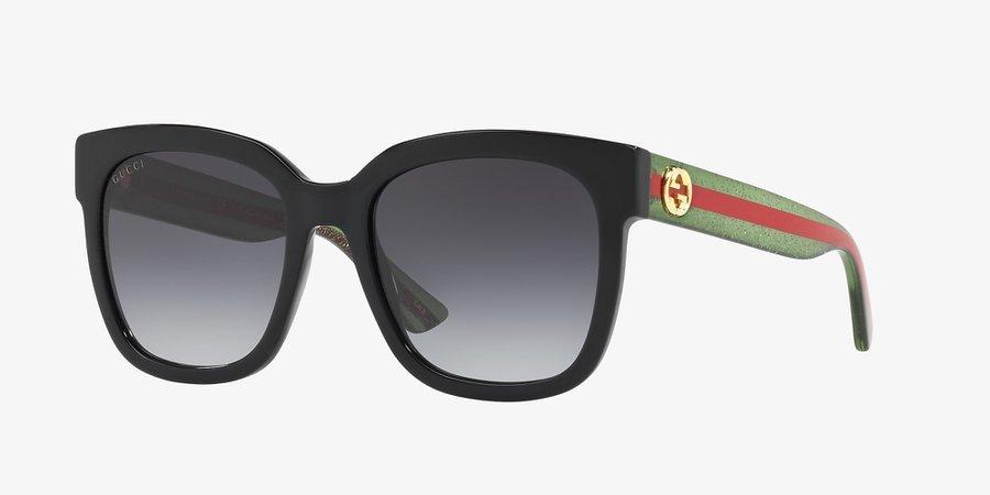 Gucci GG0034S 54 Grey-Black & Black Sunglasses | Sunglass Hut Canada