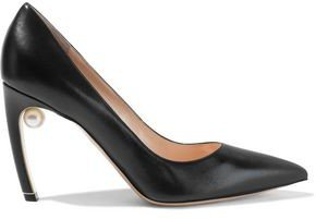 Mira 90 Faux Pearl-embellished Leather Pumps