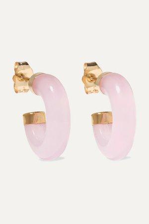 Loren Stewart | 14-karat gold rose quartz hoop earrings | NET-A-PORTER.COM