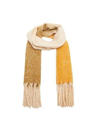 MANGO Fringed degraded scarf