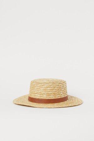 Соломенная шляпа - Светло-бежевый - Женщины   H&M RU