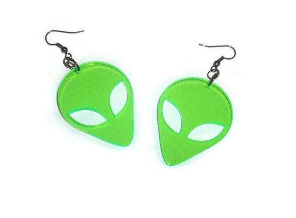 Green Alien Earrings UV Retro Laser Cut Earrings Sci-fi | Etsy