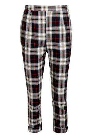 Tartan Check Tapered Trouser | Boohoo UK