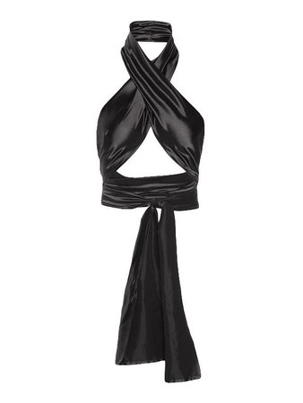 2021 Cropped Wrap Halter Tank Top Black ONE SIZE In Tank Tops & Camis Online Store. Best For Sale | Lovelyerica.com