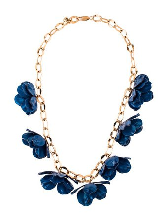 Tory Burch Pentier Resin Flower Collar Necklace - Necklaces - WTO182010   The RealReal