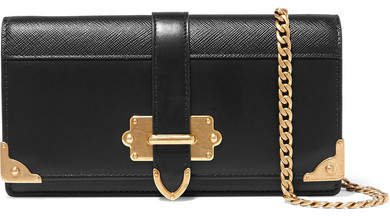 Cahier Smooth And Textured-leather Shoulder Bag - Black