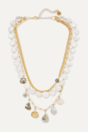 White Gold-tone multi-stone necklace | Chan Luu | NET-A-PORTER