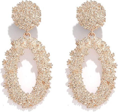 Amazon.com: Statement Drop Earrings For Women Girls Boho Textured Dangle Earrings Gorgeous Geometric Oval Raised Earrings (rose gold): Clothing