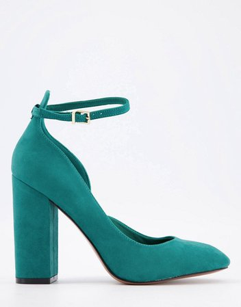 ASOS DESIGN Placid high block heels in teal | ASOS