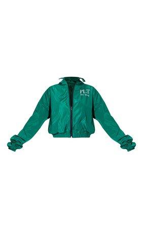 Plt Green Oversized Hooded Shell Jacket   PrettyLittleThing USA
