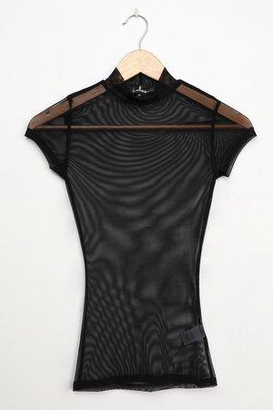 Black Mesh Top - Sheer Black Top - Sheer Mesh Short Sleeve Top