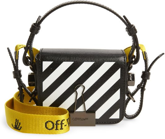 Baby Binder Clip Diagonal Stripe Leather Crossbody Bag