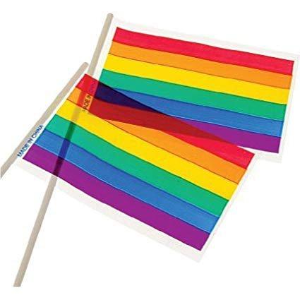 "Amazon.com: 3 Dozen (36) RAINBOW FLAGS - 4"" x 6"" LGBT - GAY Pride - PARADES Parties - Celebrations - PARTY FAVOR - Decorations: Kitchen & Dining"