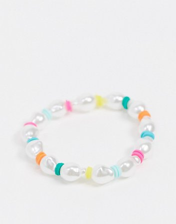 DesignB London bracelet in pearl and multi bead | ASOS