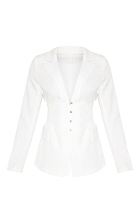 White Corset Woven Blazer | Coats & Jackets | PrettyLittleThing
