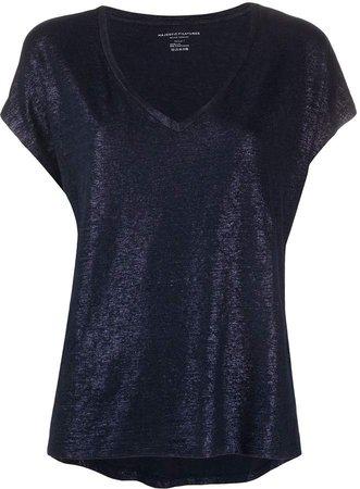 v-neck metallic T-shirt