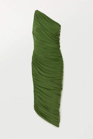 Diana One-shoulder Ruched Stretch-jersey Dress - Green