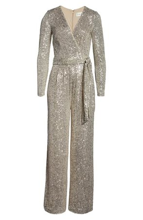 Eliza J Sequin Wrap Front Long Sleeve Jumpsuit (Regular & Petite)   Nordstrom